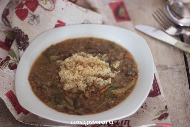 Lentejas con acelgas y quinoa