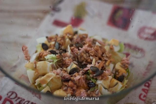 Ensalada con vinagreta miel, mostaza y soja
