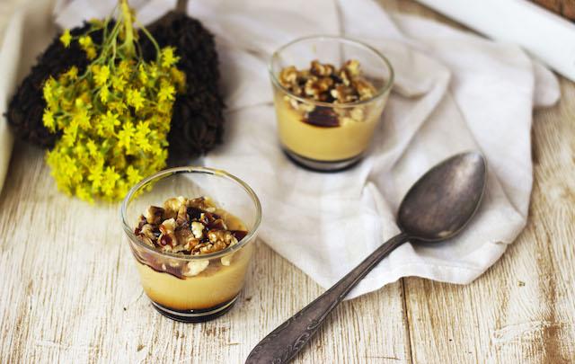 Flan de caramelo rápido con nueces
