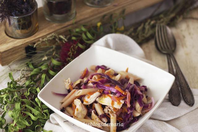 Macarrones salteados con pechuga de pollo, col lombarda y zanahorias