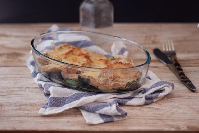 Filetes de lomo gratinados sobre cama de Kale