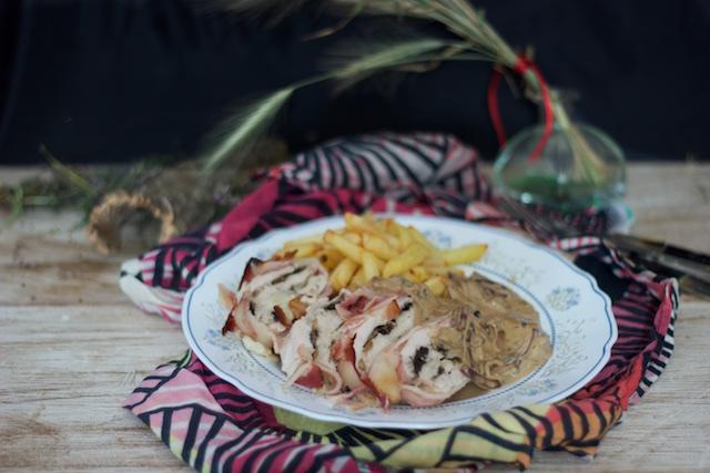 Pastel de pollo y panceta