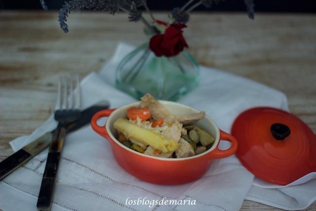 Lomo de cerdo con verduras en Cocotte